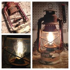 We recently converted this rusted looking gas lantern into an electric plug in lamp. Looks great on a table or hanging from the ceiling!   An 60 watt antique victorian style light bulb is used, it is the same process to change the light bulb as if you were changing the wick on a working gas lantern. The glass portion pops out which allows access to the light socket.