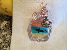 Fused glass wire wrapped pendant with shark by fusedglassbyjemima, $25.00