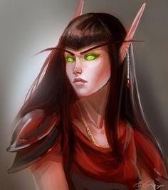 Blood elf commission by AppleSin on DeviantArt World Of Warcraft Game, World Of Warcraft Characters, Warcraft Art, Fantasy Characters, Fantasy Portraits, Fantasy Artwork, For The Horde, Girl Elf, Blood Elf