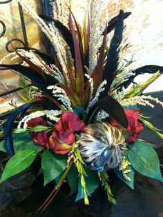 Small Silk Floral Arrangement - Tile Topper - Red Hydrangea with Feathers. $40.00, via Etsy.