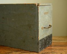 Industrial Box with Sliding Lid, Metal Handle and Metal Label - Organization and Storage