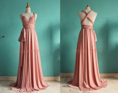 Dusty Pink Wedding Bridesmaid Dress Wrap Convertible by myuniverse What do my girls think?