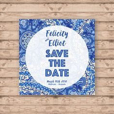 Watercolour Paisley Save The Date Card - Print at Home File or Printed Cards - Blue Watercolour Watercolor Paisley Save The Date Cards by PaperCrushAus on Etsy