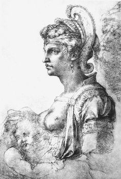 Allegorical figure by Michelangelo, Drawing    #TuscanyAgriturismoGiratola