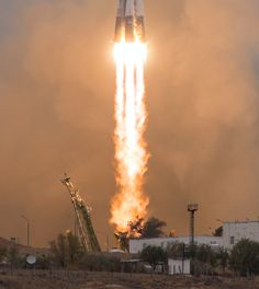 Picture of the day for October 19 2016 by Nasa The Soyuz MS-02 rocket is launched with Expedition 49 Soyuz commander Sergey Ryzhikov of Roscosmos flight engineer Shane Kimbrough of NASA and flight engineer Andrey Borisenko of Roscosmos Wednesday Oct. 19 2016 at the Baikonur Cosmodrome. The crew will spend the next four months living and working aboard the International Space Station.