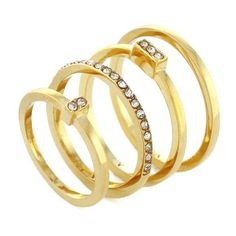 Vince Camuto Gold Gold-Tone Geo Pave Stack Ring Set ($12) ❤ liked on Polyvore featuring jewelry, rings, accessories, gold, clear crystal ring, geometric rings, gold jewellery, yellow gold stackable rings and gold tone jewelry