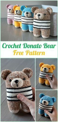 Amigurumi Crochet Two Legged Donato Bear Free Pattern - Amigurumi Crochet Teddy Bear Toys Free Patterns