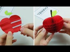 Origami Fruit: How to Make a Apple Fruit With Paper - Origami Easy Origami Mouse, Origami Fish, Origami Butterfly, Crafts To Make, Crafts For Kids, Diy Crafts, Origami Apple, Paper Fruit, Fruit Crafts