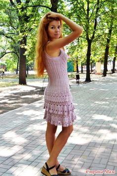 """Приветствую всех. У меня вариация на тему платья """"София"""". Верх платья я решила связать как платье Silver."""