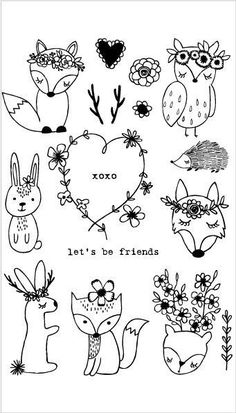 20214 bohmische waldtiere set tiere bohmische set waldland - The world's most private search engine Cat Doodle, Doodle Art, Forest Animals, Woodland Animals, Woodland Creatures, Wild Animals, Funny Animals, Tier Doodles, Easy Doodles