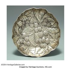AN AMERICAN SILVER BLACKBERRY MOTIF BOWL Silver Holloware, | Lot #18330 | Heritage Auctions Vintage Silver, Antique Silver, Copper Lamps, Blackberry, Decorative Bowls, Auction, Bronze, American, Antiques