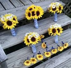 Image result for bridesmaids blue sunflowers