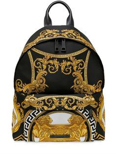 VERSACE COUPE DES DIEUX PRINTED NYLON BACKPACK, BLACK/GOLD. #versace #bags #leather #lining #nylon #backpacks #