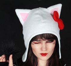 Animal Cap Kitty White Bow Fur Hat Ears Beanie by PaperCatsPL, $27.00