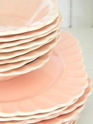 We'd totally eat off of these peachy pink dishes. Peach Dish, Pink Dishes, Shades Of Peach, Peach Blossoms, Just Peachy, Everything Pink, Vintage Dishes, Pretty Pastel, Peach Colors