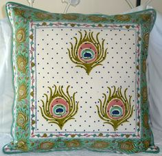Peacock Themed Block Print Cushion Cover