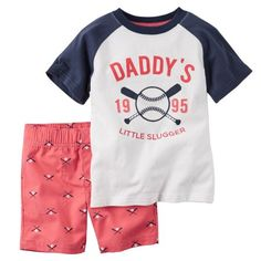 Free Shipping. Buy Carters Baby Clothing Outfit Boys 2-Piece Baseball Tee & Red Short Set at Walmart.com