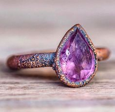 Amethyst Tear Drop and Copper Ring