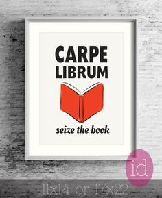 "Large Wall Poster For Book Nerd ""Carpe Librum"" Read Books-Art For Book Worm-Awesome Gift For Book Lover-Love To Read-Art For Study-Wall Art"