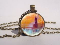 Big Ben London Skyline Necklace, London Sunset Jewelry, Big Ben Art Pendant via Etsy