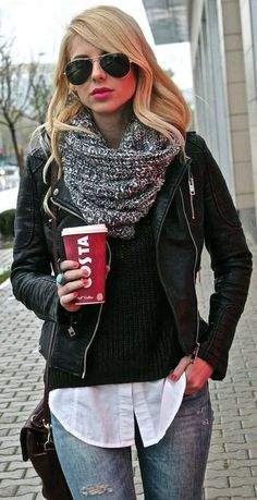 Stylish layered outfit easy to do. A white button down under a black cardigan with a black leather jacket on top. The black and white circle scarf is a good addition to complete the outfit.