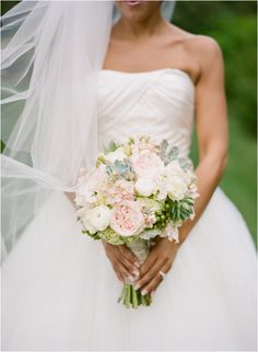 soft and romantic pink and green wedding bouquet