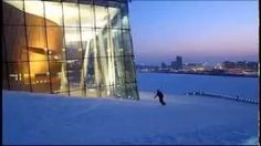Snowboarding down the opera house