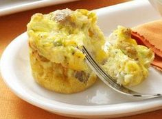 Scrambled Egg Muffins Recipe...try with egg beaters and turkey sausage