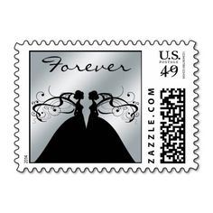 Silver Foil Two Brides Wedding Postage
