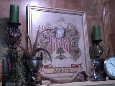 Custom painted family crest by Lezley Lynch Designs, Edmond. OK.  Interior design by Off the Wall Interiors, Edmond, Ok.