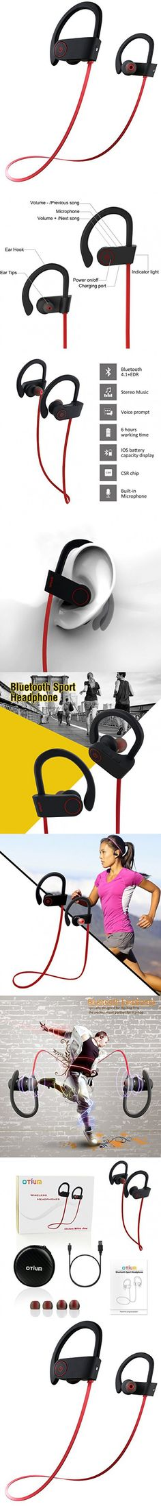 Otium Wireless Bluetooth Sports Headphones In-Ear Earbuds Sweatproof Earphones Stereo with Mic Bass Noise Cancelling Bluetooth V4.1 for iPhone Android Smartphones