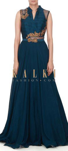 Buy this Navy blue suit with zardosi embellished bodice only on Kalki