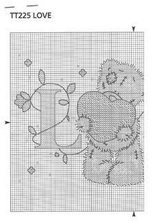 Tatty Teddy Love X-stitch chart, 1 of 2 Cross Stitch Boards, Cross Stitch Needles, Cross Stitch Heart, Cross Stitch Samplers, Cross Stitch Animals, Counted Cross Stitch Patterns, Cross Stitch Designs, Cross Stitching, Cross Stitch Embroidery