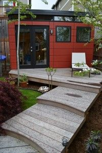 black and red modern shed with deck : Outdoor Modern Shed. contemporary backyard sheds,modern shed homes ideas,modern shed ideas,modern storage shed,outdoor modern shed Backyard Office, Backyard Studio, Backyard Sheds, Garden Office, Garden Studio, Outdoor Office, Shed Design, House Design, Pub Sheds