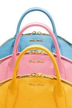 Regilla ⚜ Miu Miu baby blue, pink and yellow handbags