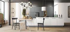 Cucina Moderna - Time   Finiture: bianco glass opaco, grigio cenere opaco,giallo ocra opaco | Top corian  bianco  | Maniglie 430 inox | Zoccolo brunito http://www.arredo3.it/cucine-moderne/cucina-moderna-time/
