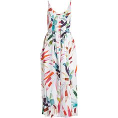 Mara Hoffman Xylophone White-print button-down midi linen dress ($458) ❤ liked on Polyvore featuring dresses, midi cocktail dress, midi dress, summer cocktail dresses, cocktail dresses and white dress