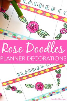 Happy Planner Decorations: Weekly Layout for PlannerCon 2019 Happy Planner Decorations: Weekly Layout for PlannerCon Chic Planner Add these rose doodles to your planner for some pretty and easy planner decorations. Planner Tips, Planner Layout, Weekly Planner, Happy Planner, Rose Doodle, Rose Outline, Monthly Themes, Sketch Notes, Best Planners