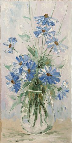 синие цветы – купить или заказать в интернет-магазине на Ярмарке Мастеров | картина написана мастихином и кистью