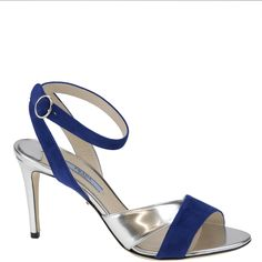 Indigo blue suede and silver sandal from Prada, from spring summer 2014.