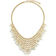 BERRICLE Gold-Tone White Simulated Pearl Fashion Bib Statement... ($33) ❤ liked on Polyvore featuring jewelry, necklaces, statement necklace, white, women's accessories, white jewelry, white bib necklace, bib jewelry, gold tone jewelry and faux pearl necklace