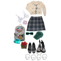 A fashion look from April 2014 featuring embroidered shirts, blue skirts and lingerie bra. Browse and shop related looks. Quirky Fashion, Vintage Fashion, Fashion Looks, Fashion Goth, Cool Outfits, Fashion Outfits, Grunge Look, Couture Collection, Retro