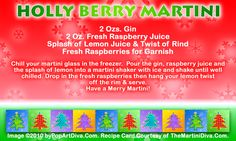 HOLLY BERRY CHRISTMAS MARTINI recipe on a Free Recipe Card - Click the image for the Full Sized, Print Quality Recipe Card!