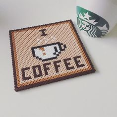 Hama: I love coffee Hama Beads Coasters, Diy Perler Beads, Perler Bead Art, Pixel Art, Pearler Bead Patterns, Perler Patterns, Hama Beads Design, Peler Beads, Iron Beads