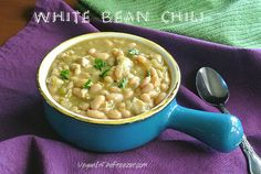 White Bean Chili from the Slow Cooker ~ http://veganinthefreezer.com
