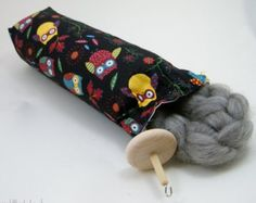 Drop Spindle Case- Hard Case, Project Bag Owl Fabric
