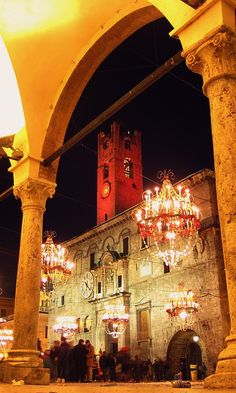 Ascoli Piceno - Italy Italians just know how to do it right. Outdoor chandeliers!!! Freakin' Awesome.
