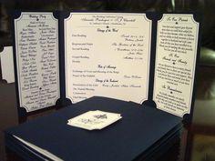 The Katherine - Unique Gatefold Wedding Program. $2.50, via Etsy.  **Shown in smooth navy**