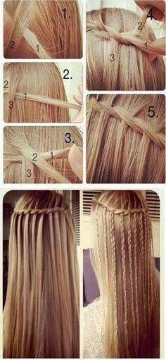 Waterfall braid braided ~ DIY Everyday Hairstyles School Step by step ~ I love it:)