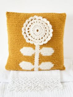 Retro Scandinavian Mustard Flower Cushion crochet pattern by Little Doolally